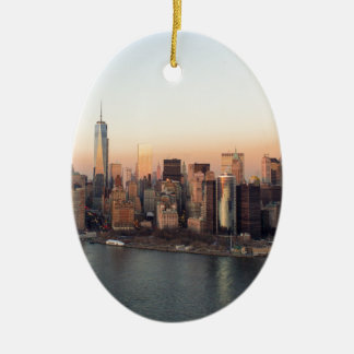 Lower Manhattan Sunset WTC Freedom Tower NYC Ceramic Oval Decoration
