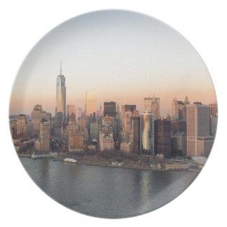 Lower Manhattan Sunset WTC Freedom Tower NYC Plates