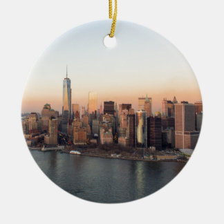 Lower Manhattan Sunset WTC Freedom Tower NYC Round Ceramic Decoration
