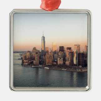 Lower Manhattan Sunset WTC Freedom Tower NYC Silver-Colored Square Decoration