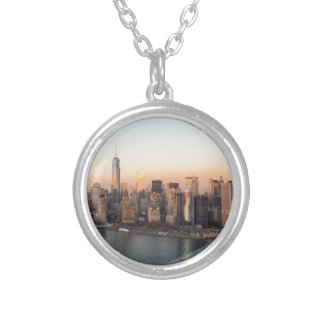 Lower Manhattan Sunset WTC Freedom Tower NYC Silver Plated Necklace