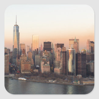 Lower Manhattan Sunset WTC Freedom Tower NYC Square Sticker