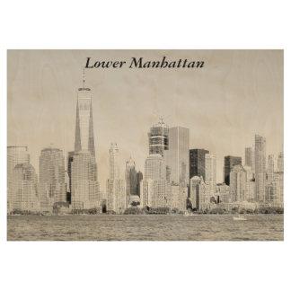 Lower Manhattan Wood Poster