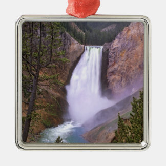 Lower Yellowstone Falls, Grand Canyon of Silver-Colored Square Decoration