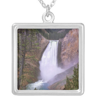 Lower Yellowstone Falls, Grand Canyon of Square Pendant Necklace