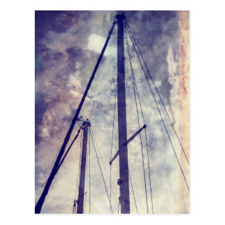 lowered sails in the winter postcard