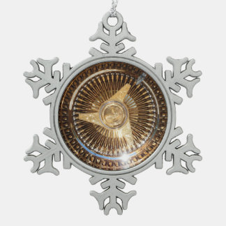Lowrider Wire Wheels Snowflake Framed Ornament