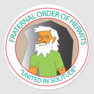 LOYAL ORDER OF HERMITS CLASSIC ROUND STICKER