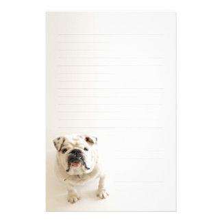Loyal White Bulldog Lined Writing paper Customized Stationery
