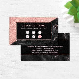 Loyality Card Rose Gold Marble Beauty Salon Custom