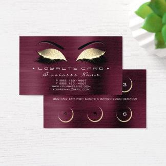 Loyalty Card 6 Beauty Salon Lashes Burgundy Gold