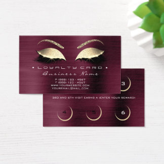 Loyalty Card 6 Beauty Salon Lashes Burgundy Lux