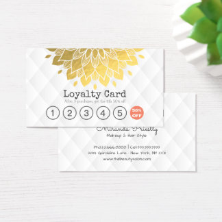 Loyalty Card Gold Floral White Leather Hair Makeup