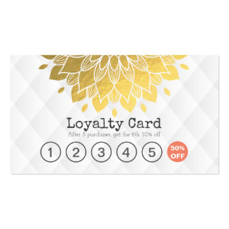 Loyalty Card Gold Floral White Leather Hair Makeup Pack Of Standard Business Cards
