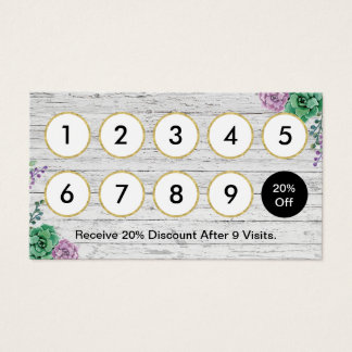 Loyalty Card | Hair Stylist Vintage Floral Wood