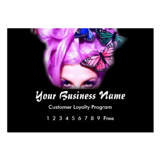 Loyalty Card :: Purple Hair Butterfly Lady Pack Of Chubby Business Cards