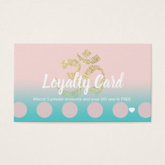 Loyalty Card | Yoga Instructor Om Symbol Pink Teal