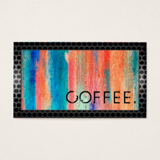 Loyalty Coffee Punch Retro Colour Wood Look #9 Business Card