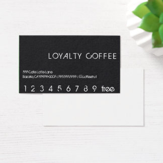 Loyalty Punch Card on black flannel looking back