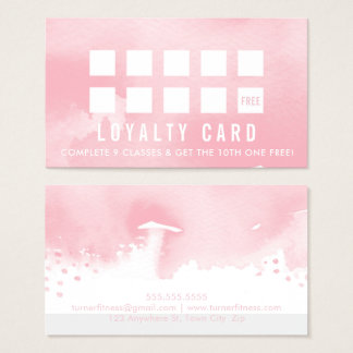 LOYALTY REWARD CARD modern painted pink watercolor