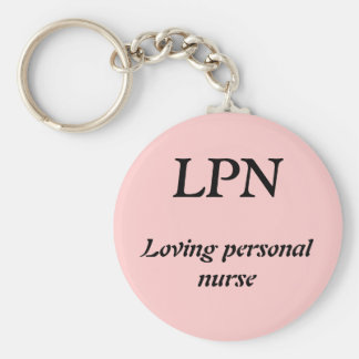 LPN, Loving personal nurse Basic Round Button Key Ring