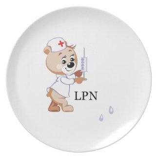 LPN Nurse Bear Dinner Plates