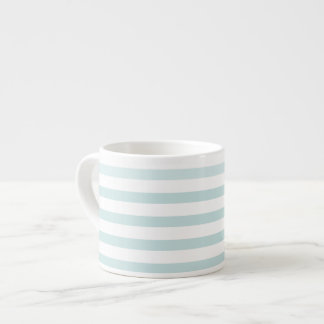 Lt. Blue and White Horizontal Stripe Espresso Mug