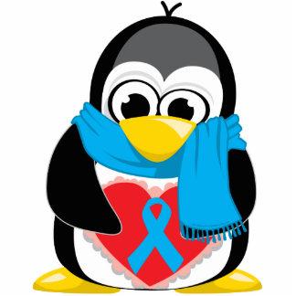 Lt Blue Ribbon Penguin Scarf Standing Photo Sculpture