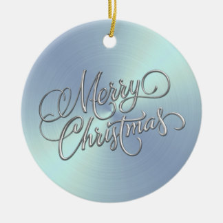 Lt Blue Sheen and Silver Merry Christmas Round Ceramic Decoration