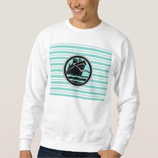 Lt Blue White Striped Black Cruise Ship Nautical Sweatshirt