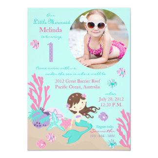 Lt. Brunette Mermaid First Birthday Invitation