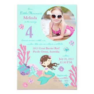 Lt. Brunette Mermaid Fourth Birthday Invitation
