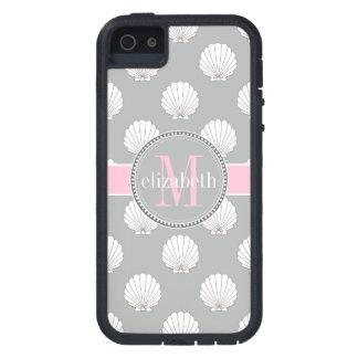 Lt Gray | Pink Clamshells Seashells Monogram iPhone 5 Cases