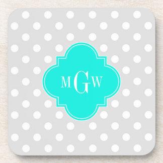Lt Gray Polka Dots Brt Aqua Quatrefoil 3 Monogram Beverage Coasters