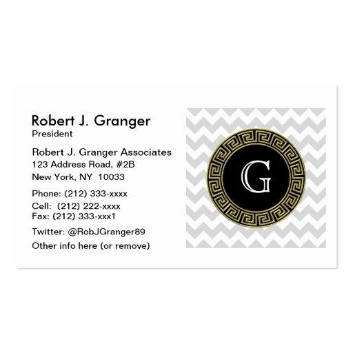 Lt Gray White Chevron Black Greek Key Monogram Business Card Templates