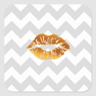 Lt Gray White Chevron, Gold Lipstick Kiss Stickers