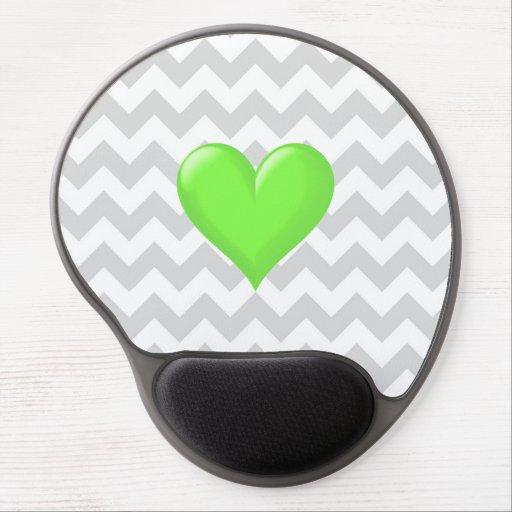 Lt Gray White Chevron Lime Green Shaded Heart Gel Mousepads