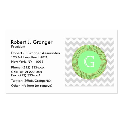 Lt Gray White Chevron Mint Greek Key Monogram Business Card Template