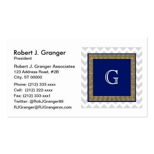 Lt Gray White Chevron Navy SQ Greek Key Monogram Business Card Template