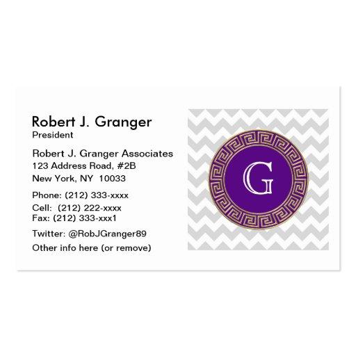Lt Gray White Chevron Purple Greek Key Monogram Business Cards