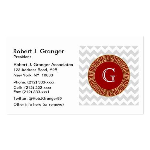 Lt Gray White Chevron Red Greek Key Monogram Business Card Templates