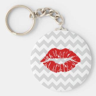 Lt Gray White Chevron, Red Lipstick Kiss Key Chain