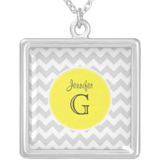 Lt Gray White Chevron Round Yellow Name Monogram B Square Pendant Necklace
