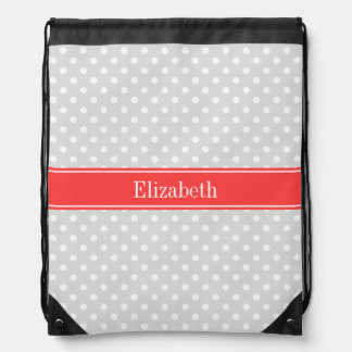Lt Gray White Polka Dots Coral Name Monogram Drawstring Bag