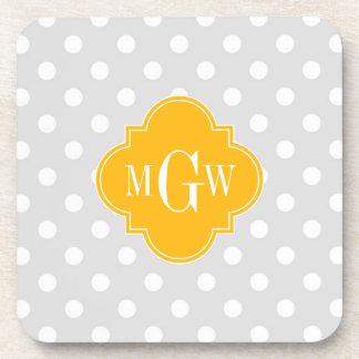 Lt Gray White Polka Dots Goldenrod 3 Monogram Beverage Coaster
