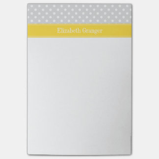 Lt Gray White Polka Dots Pineapple Name Monogram Post-it Notes