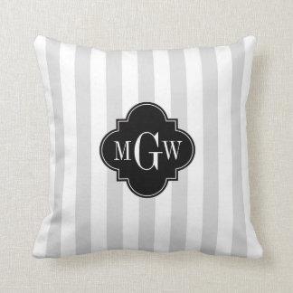 Lt Gray White Stripe Black Quatrefoil 3 Monogram Pillow