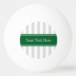 Lt Gray White Stripe Forest Green Name Monogram Ping Pong Ball