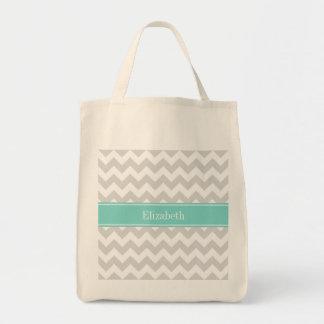 Lt Gray Wht Chevron Aqua Turquoise Name Monogram Grocery Tote Bag