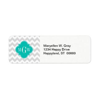 Lt Gray Wht Chevron Teal Quatrefoil 3 Monogram Return Address Label